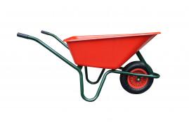 LIVEX talicska 100 l, felfújható kerék, összeszerelt, műanyag teknő, piros, teherbírás 100 kg