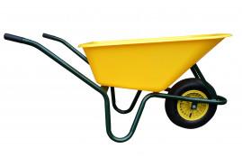LIVEX talicska 100 l, felfújható kerék, összeszerelt, műanyag teknő, sárga, teherbírás 100 kg
